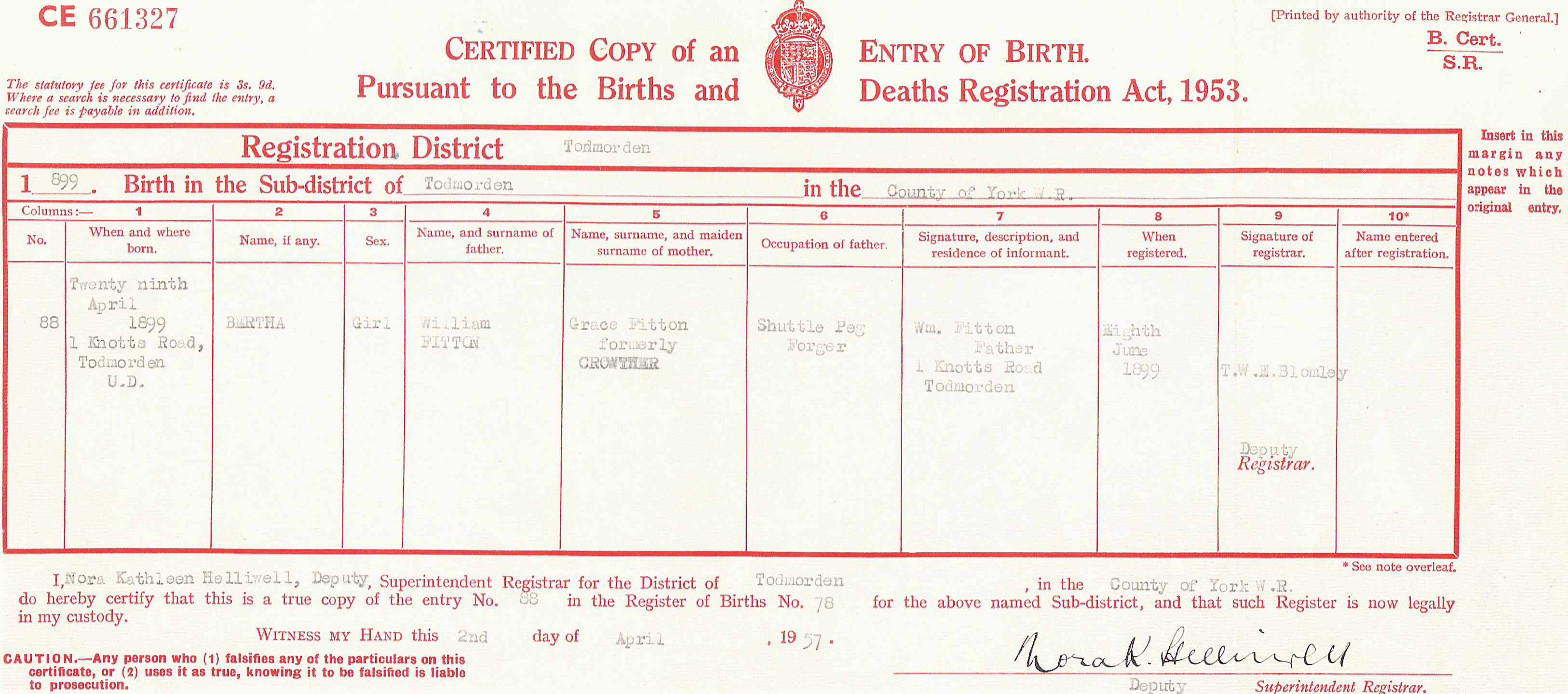 20c diary berthas place of birth is given on the birth certificate as 1 knotts road todmorden this lies on the edge of the village of cornholme where bertha was to aiddatafo Image collections